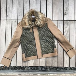 BCBG MAXAzria Green & Tan Faux Fur Collar Jacket